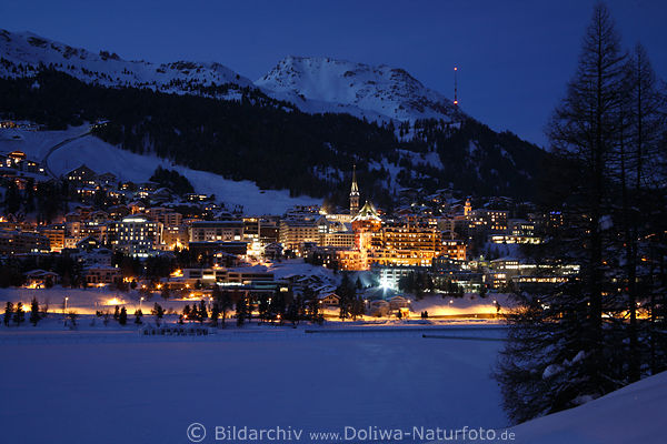 Sankt Moritz Romantik Skyline Nachtlichter Fotos